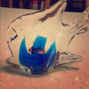 """Accents - Blown Glass Fish w/""""Floating Gold Chips and Fish"""